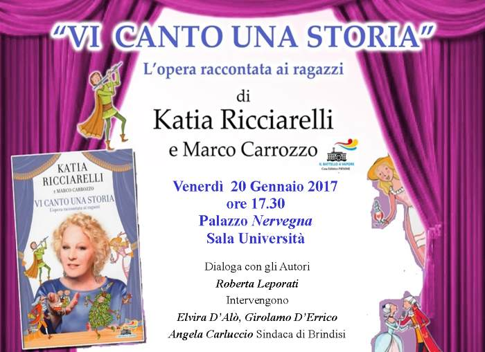 Katia Ricciarelli il 20 gennaio a Brindisi per presentare il suo libro Vi canto una storia