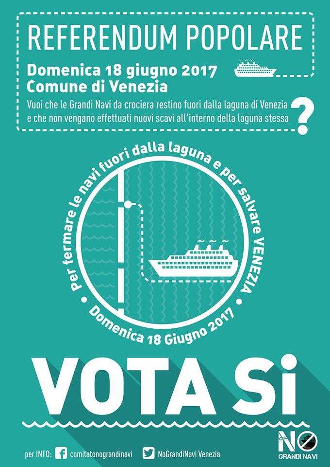 Domenica 18 giugno a Venezia si potrà votare affinché le navi da crociera restino fuori dalla Laguna