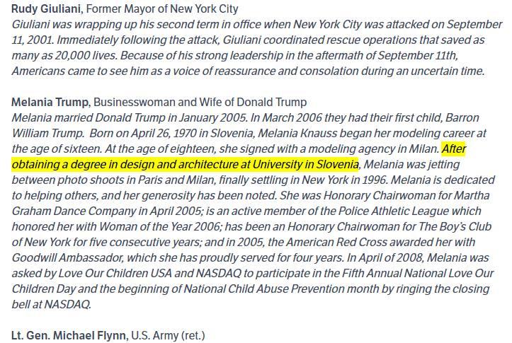 Melania Trump e una laurea in architettura mai conseguita