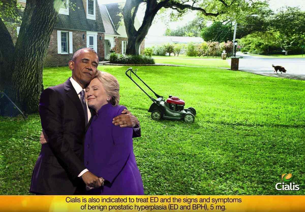 L'abbraccio fra Obama e la Clinton: ondata di variazioni sul tema con Photoshop