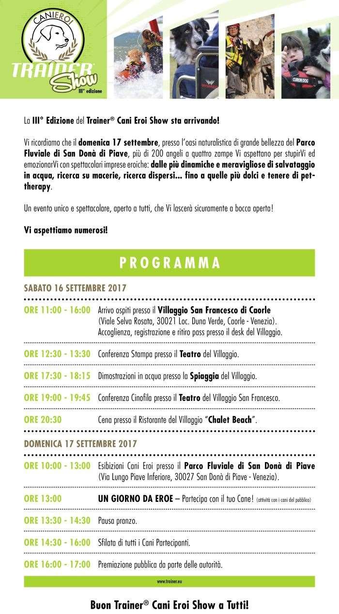 Tra Caorle e San Donà di Piave la terza edizione di Cani eroi show