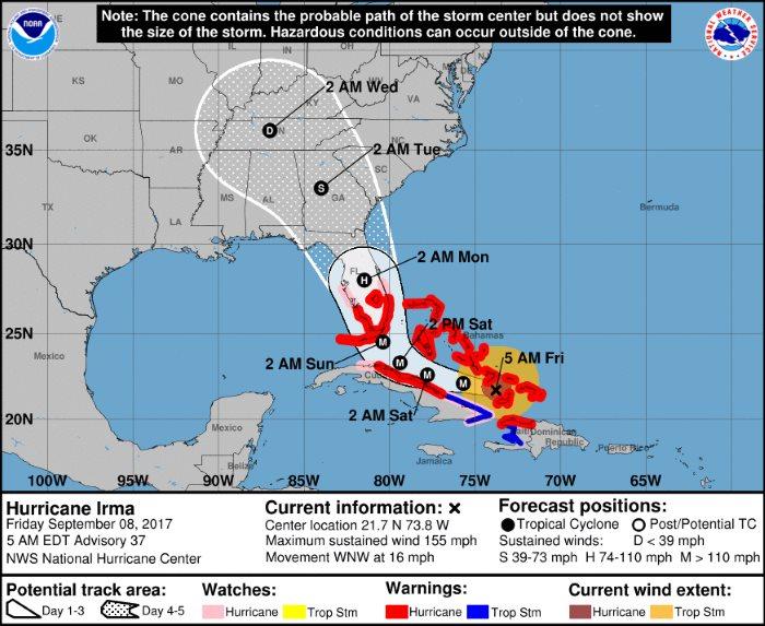 L'arrivo di Irma è atteso in Florida nella notte (ora locale) di domenica