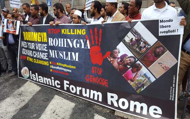 "Vigna Clara, manifestano al grido di ""Stop killing Rohingya Muslim"""