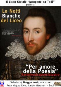"""Todi, torna la Notte Bianca del Liceo Jacopone """"Per amore della Poesia"""""""