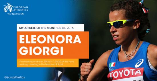 Eleonora Giorgi candidata come miglior atleta europea di Aprile