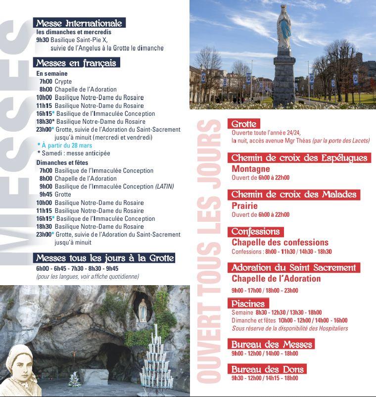 Horaires du Sanctuaire de Lourdes