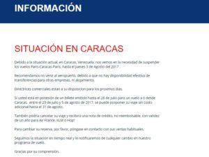 Iberia e Air France comunicano d'aver sospeso tutti i voli per Caracas