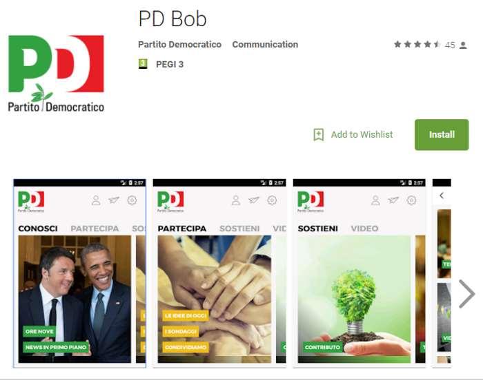 Esce Bob, l'app per essere aggiornati sulle iniziative del Partito Democratico