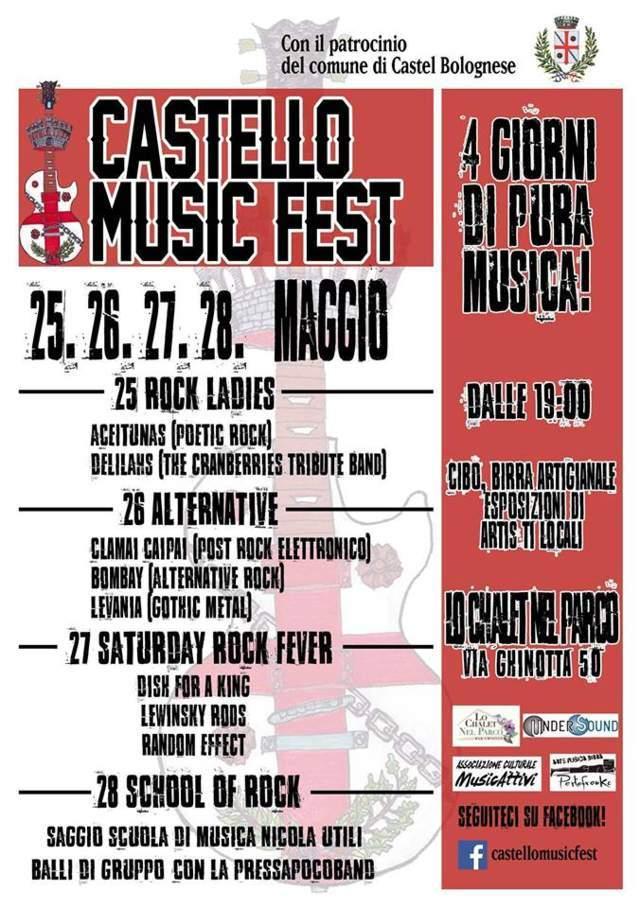 """Dal 25 al 28 maggio a Castel Bolognese ritornano i concerti live all'aperto con il """"Castello Music..."""