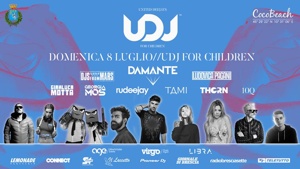 8 luglio, UDJ - United Deejays For Children al Coco Beach di Lonato (BS): l'evento di beneficenza che fa ballare il Garda