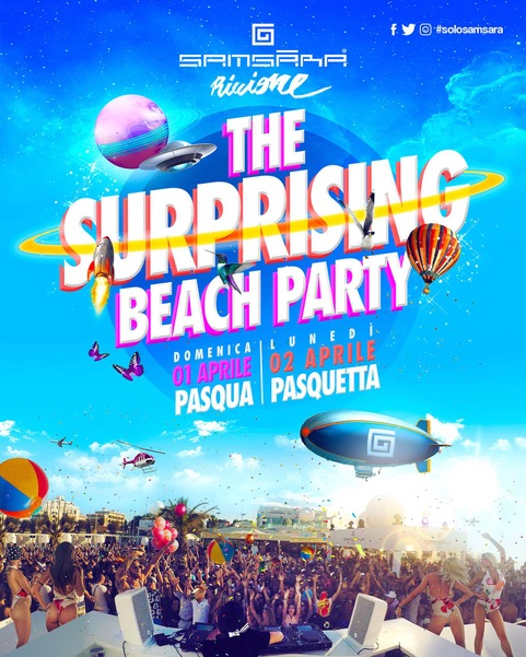 Samsara Beach - Riccione: The Surprising beach party a Pasqua e Pasquetta 2018