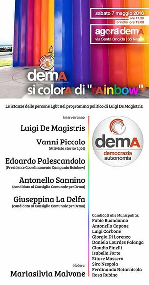 DemA si colora di Rainbow: le istanze della comunità lgbt nel programma di De Magistris