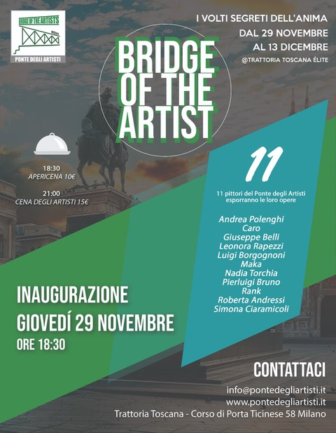 Dal 29/11 al 13/12 Bridge of the Artist presenta a Milano la mostra I Volti segreti dell'anima