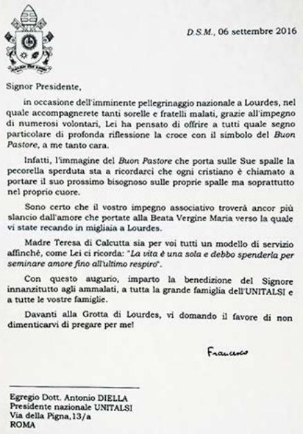Messaggio di Papa Francesco a pellegrini Lourdes