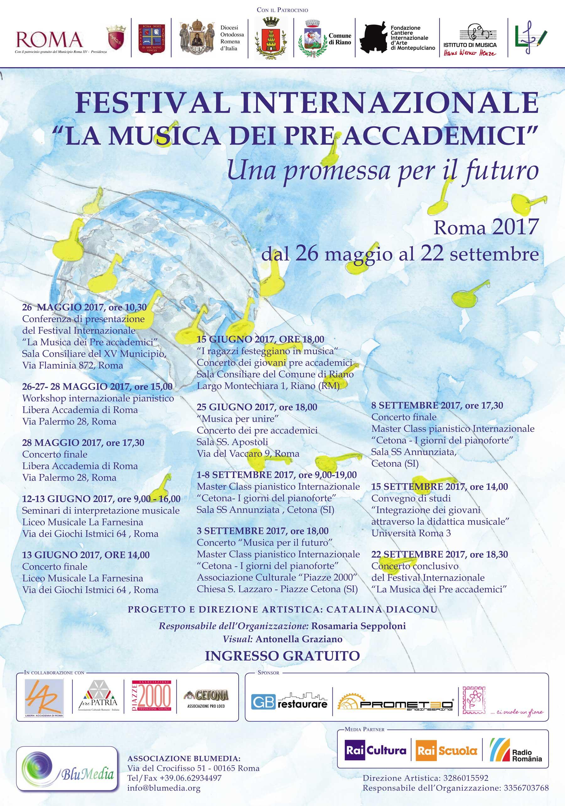 """Al via da Roma Nord il Festival Internazionale """"La Musica dei Pre Accademici"""""""