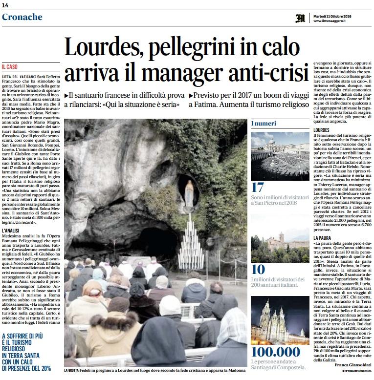 A Lourdes arriva il manager anti-crisi