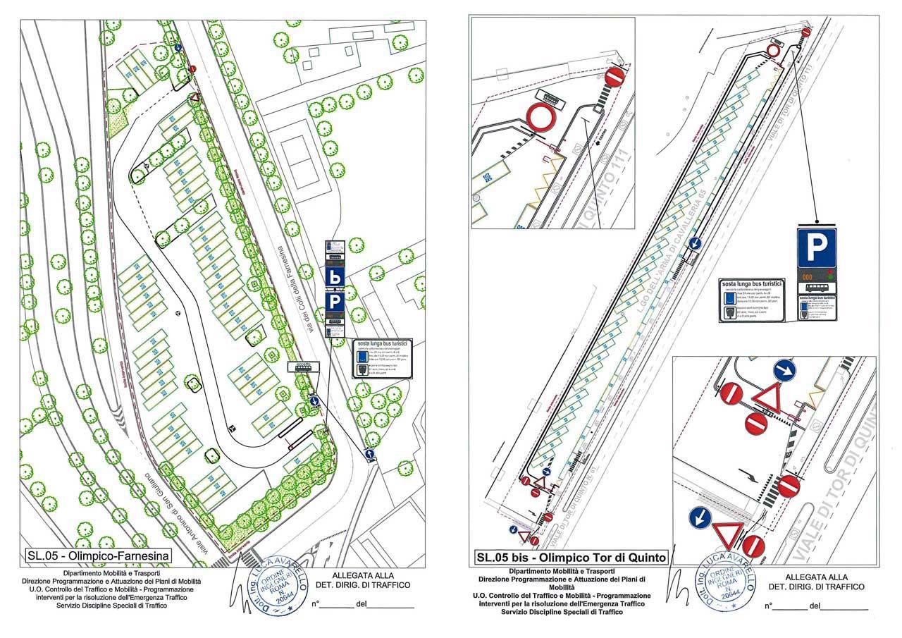 Alla Farnesina e Tor di Quinto parking per bus turistici