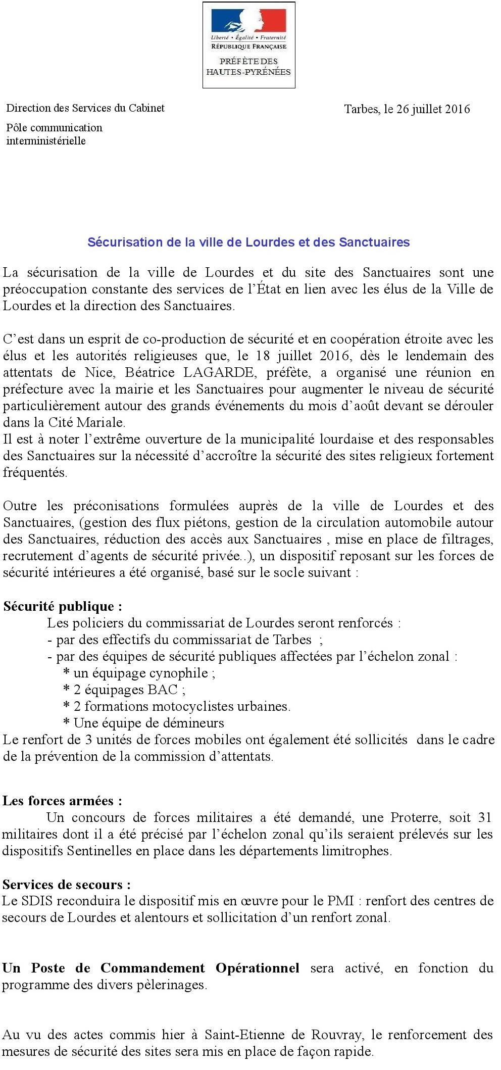 Sécurisation de la ville de Lourdes