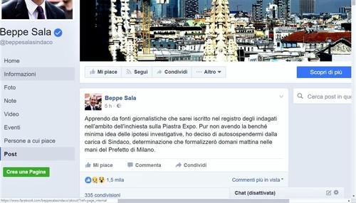 Milano, Beppe Sala, 'Mi autosospendo dalla carica di Sindaco'