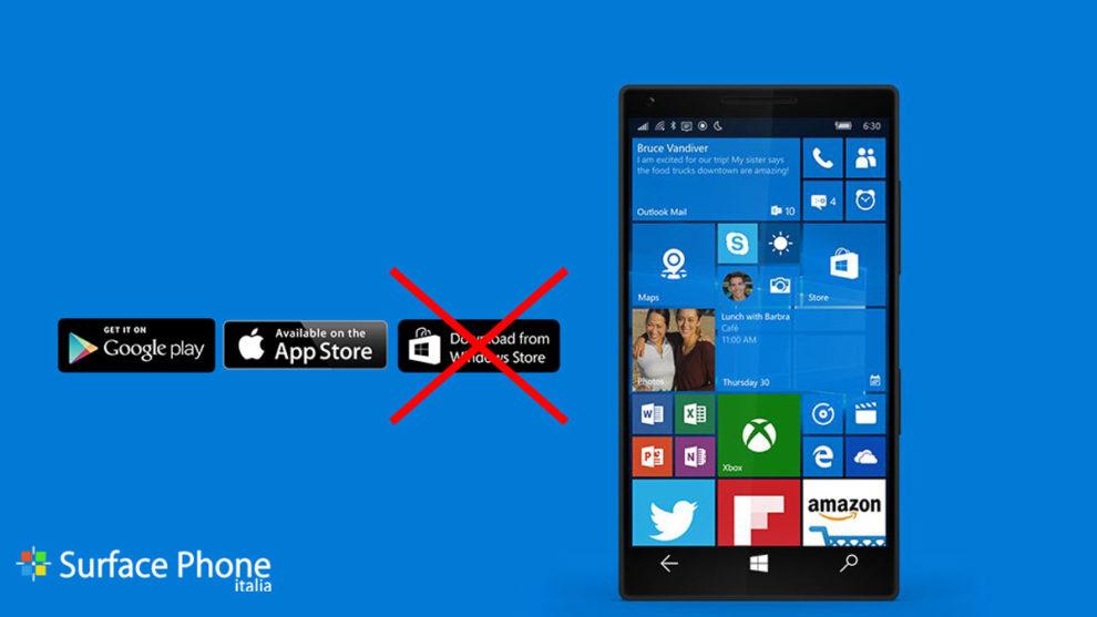 Windows 10 mobile e il problema delle app