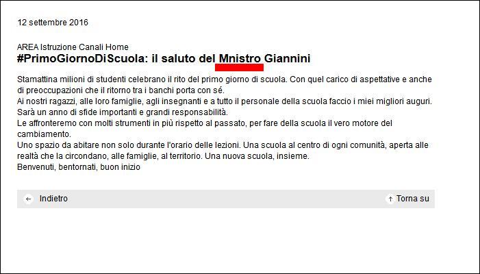 La ministra Giannini saluta il ritorno a scuola per molti studenti e fa un errore... di ortografia!