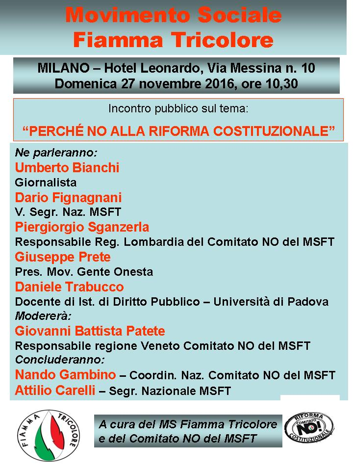 Incontro pubblico sul tema Perchè NO alla Riforma Costituzionale. (Milano, 27 novembre 2016)