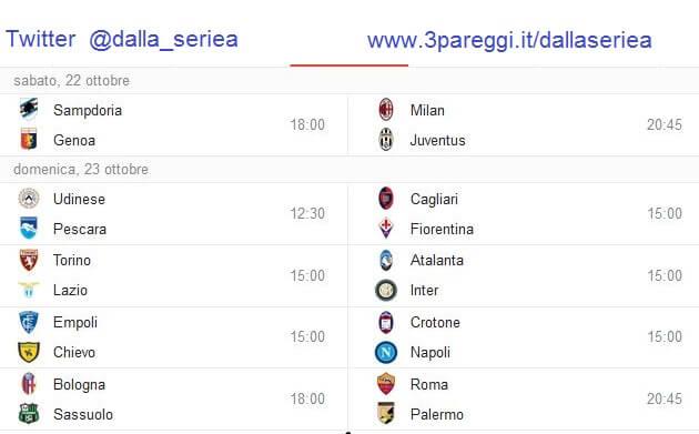 il calendario anticipi e posticipi nona giornata di campionato Serie A 22 e 23 ottobre