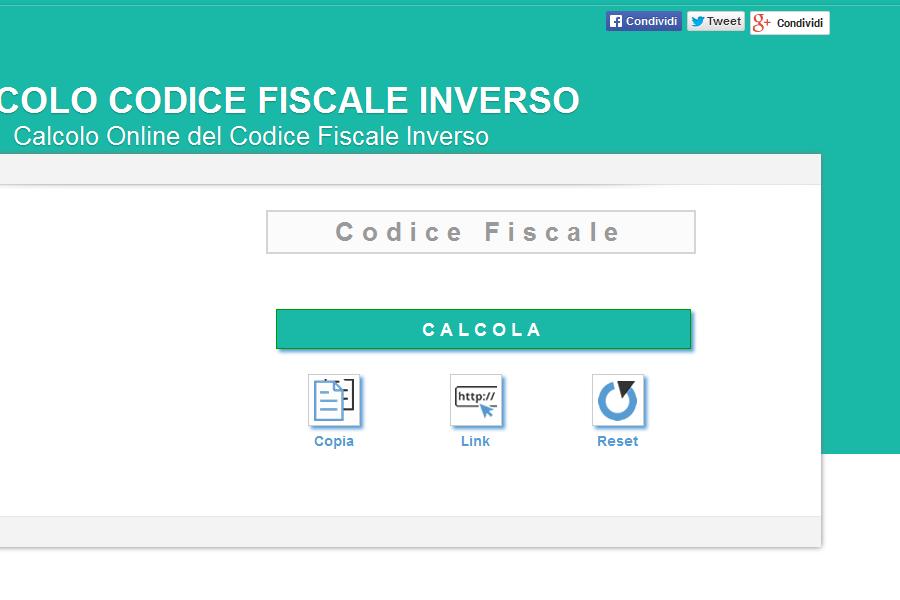 Calcolo inverso codice fiscale