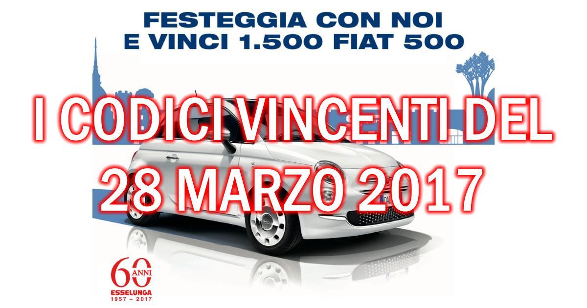 Esselunga: i codici vincenti le Fiat 500 estratti il 28 marzo 2017