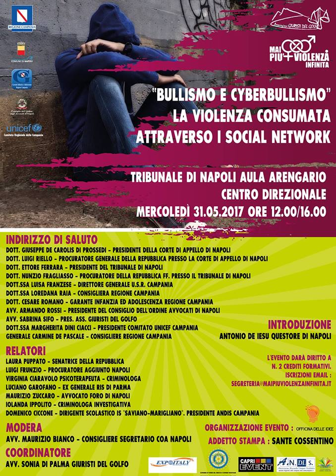Maipiùviolenzainfinita presenta un interessante seminario con tematiche sociali importanti come Bullismo e Cyberbullismo